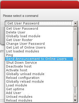 capture d'écran des commandes ad-hoc pour un admin avec Libervia