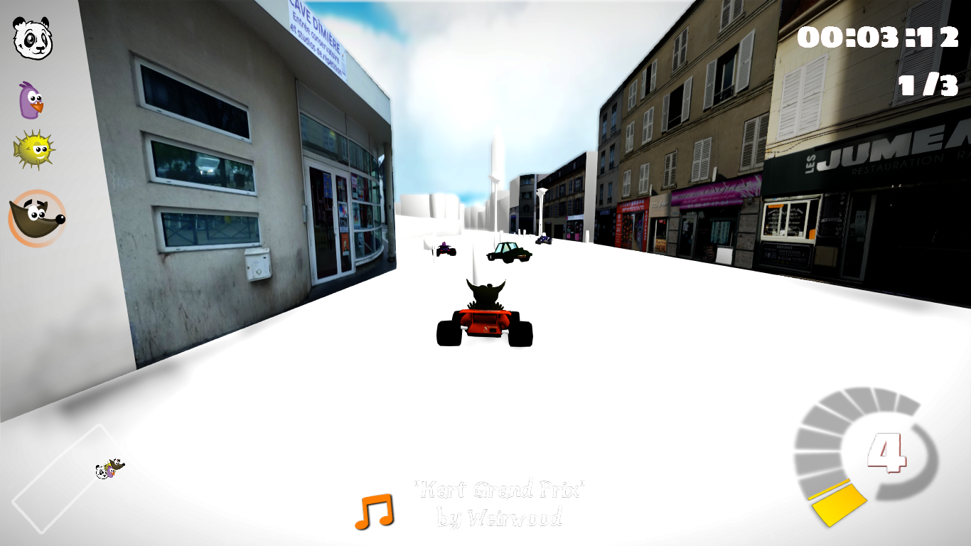 Unfinished prototype of the SuperTuxKart track created by the young and representing the actual neighborhood.