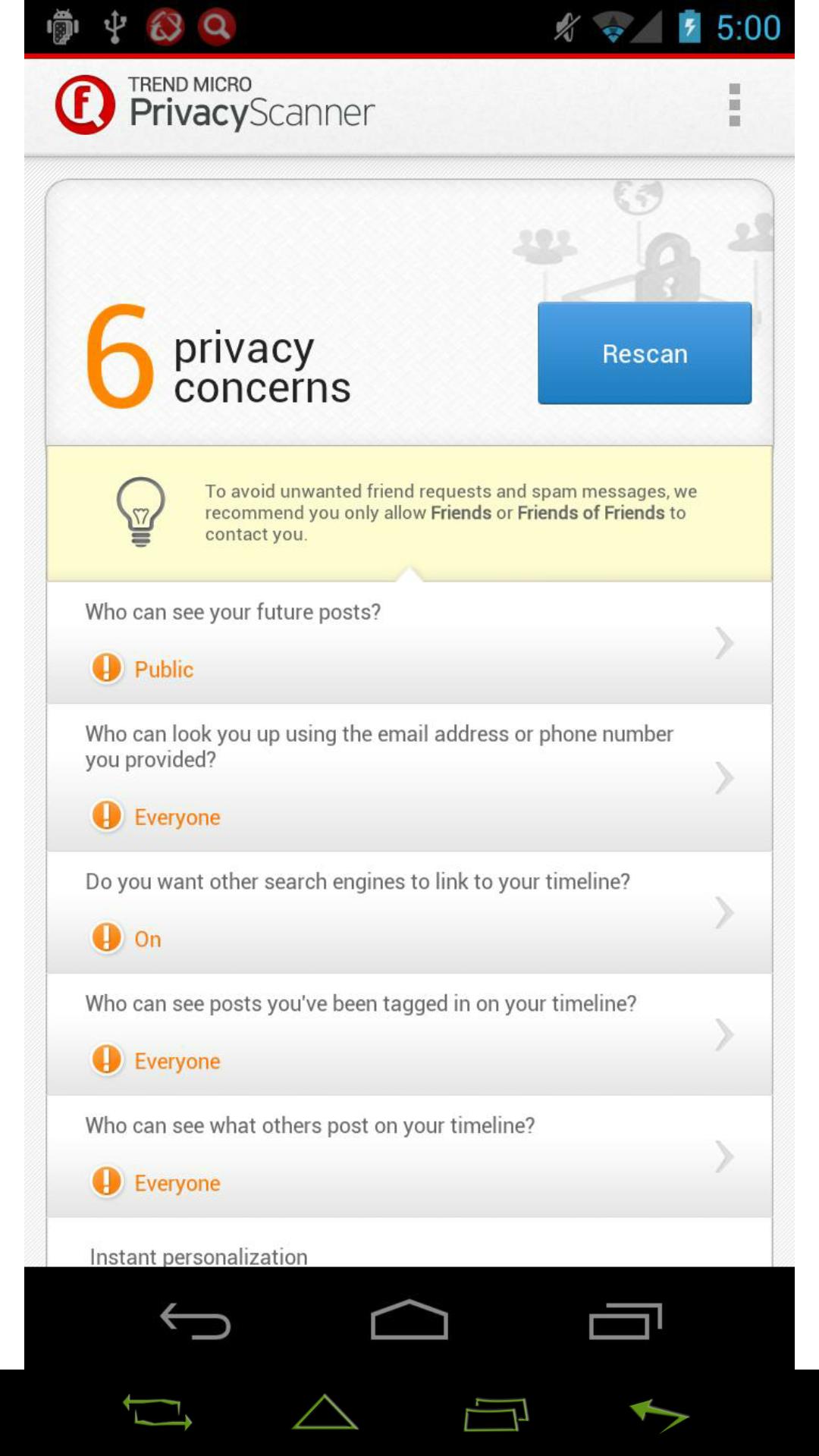[APPLICATION ANDROID - Privacy Scanner for Facebook] protéger ses données privées sur ce réseau social [Gratuit][17.02.2014] KEDD1E6R