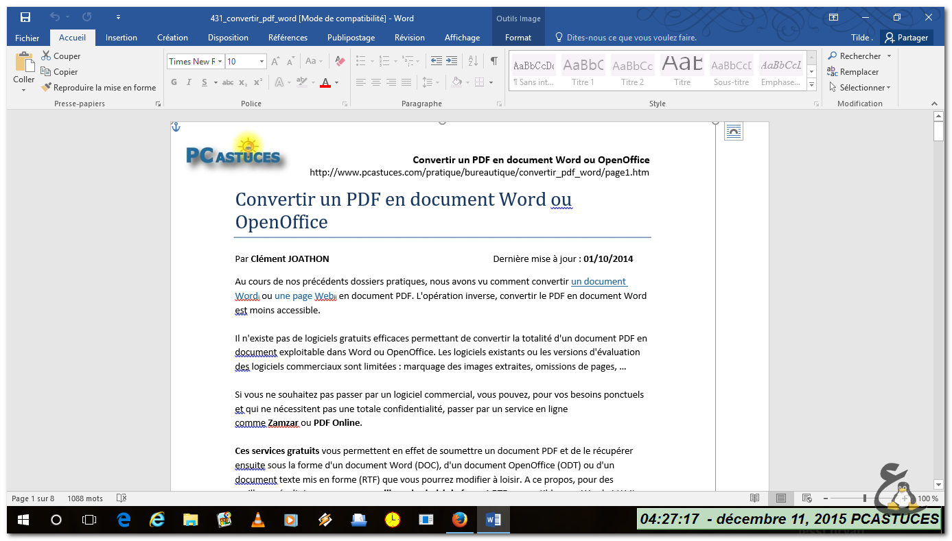 convertir un pdf en document word ou openoffice